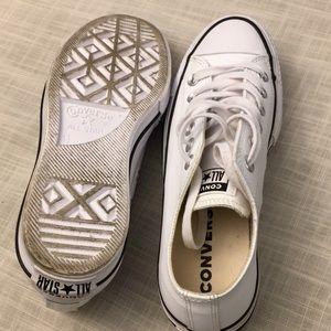 Converse Shoes - White Leather Platform Converse size 6.5